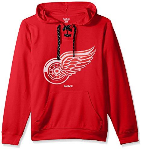 NHL Detroit Red Wings Adult Men Team Crest Performance Fleece Hockey - Wings Hoodie Red