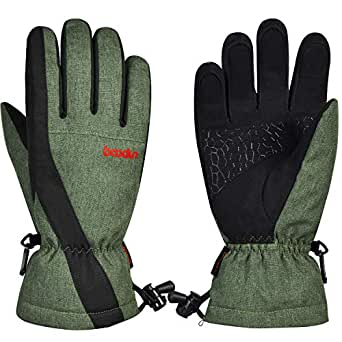 Ski Gloves, Tsuinz Cold Weather Thermal Warm Gloves with Touchscreen Windproof Waterproof Gloves for Skiing Riding Motorcycling Fits Both Men & Women (Army Green, Small)