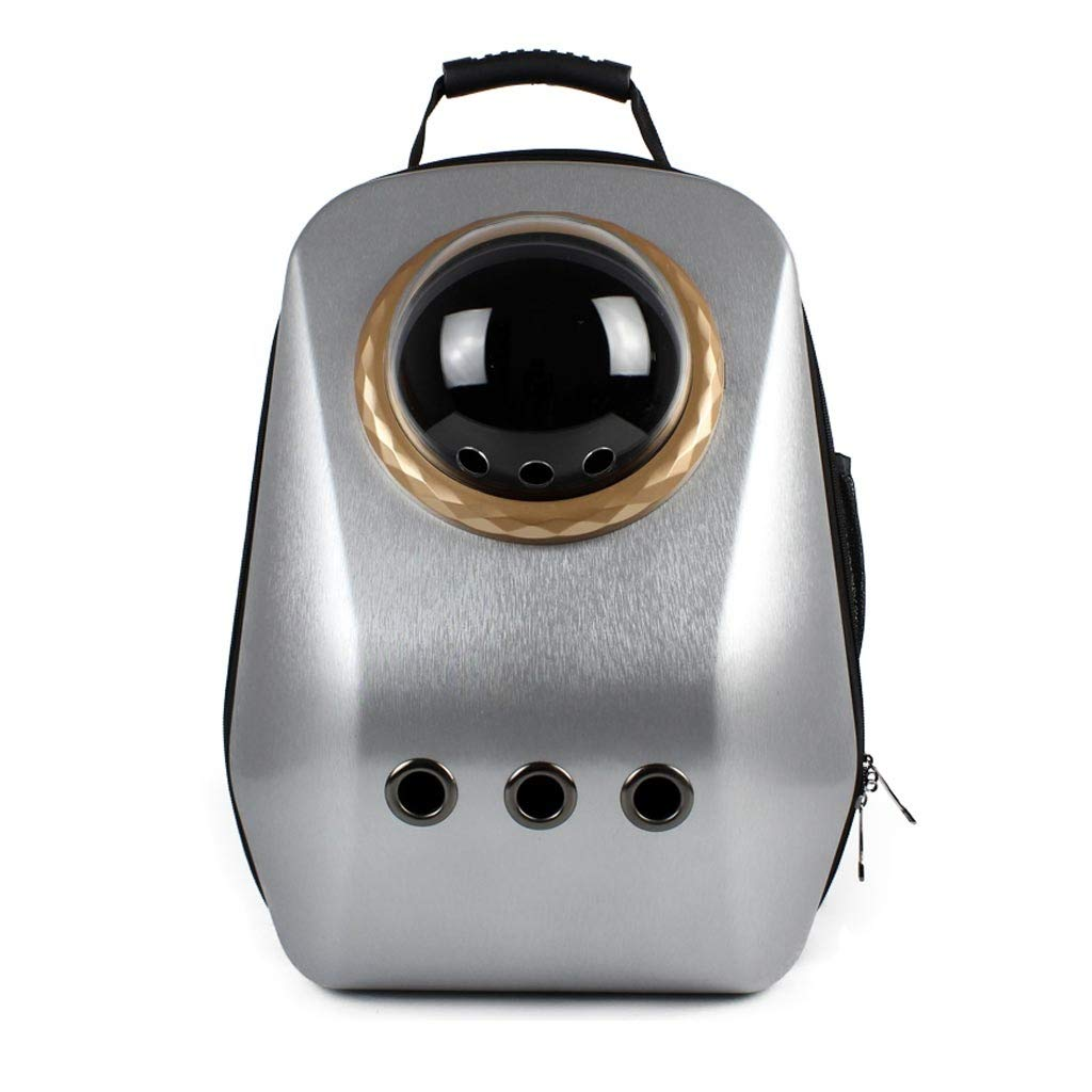 Silver gold Accessories Pet backpack Pet Bag Portable Pet Bag Pet Cat Cage Cat Dog Travel Bag Breathable Bag Travel Hiking Camping Size 35  29  47cm (color   Silver gold accessories)