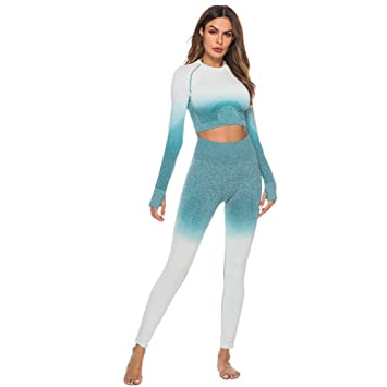 ATTHJAET Moda Tops De Manga Larga Traje Deportivo Gimnasio Fitness Chándal Ropa De Mujer Camisa De Entrenamiento para Mujer Pantalón Conjuntos De Dos Piezas para Mujer: Amazon.es: Deportes y aire libre