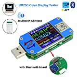 USB Power Meter, MakerHawk UM25C USB Voltmeter, Bluetooth Type C USB Tester Meter USB Voltage Meter and Current Tester, 1.44inch 5A Color LCD Display Power Tester Multimeter, QC 2.0 3.0