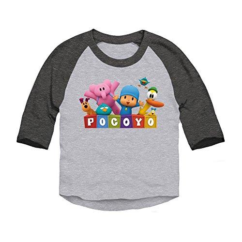 Trunk Candy Pocoyo - Pocoyo Logo with Friends Toddler 3/4 Sleeve T-Shirt (Heather/Smoke, 3T)