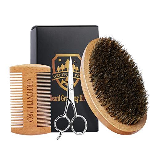 Beard Grooming Kit for Men-Beard Comb & Beard Brush-Bora Bristle Beard Brush and Wooden beech wood Mustache Comb-Stainless Beard Scissor for Beard Hair Care Gift Set