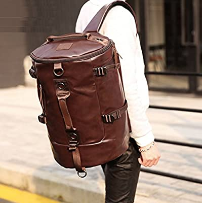 CHAO RAN Men Large Travel Duffle Gym Luggage Bag Leather Backpack School Handbag
