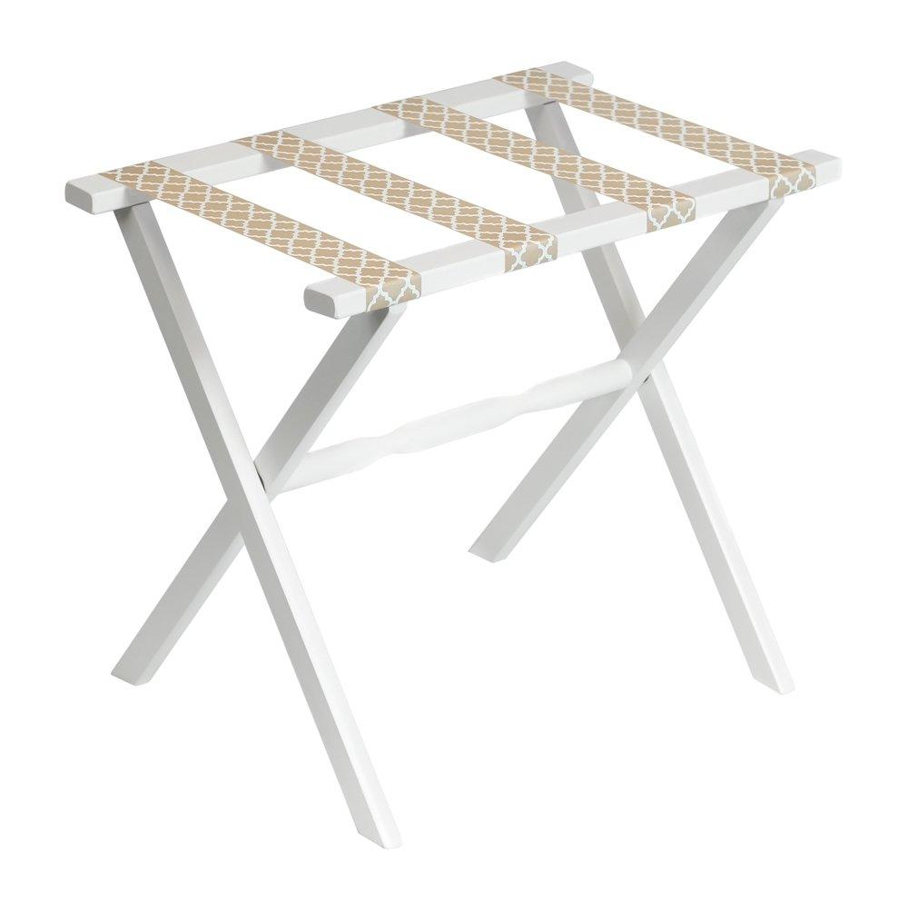 Gate House Furniture Straight Leg Quatrefoil Series Wood Luggage Rack, White/Beige
