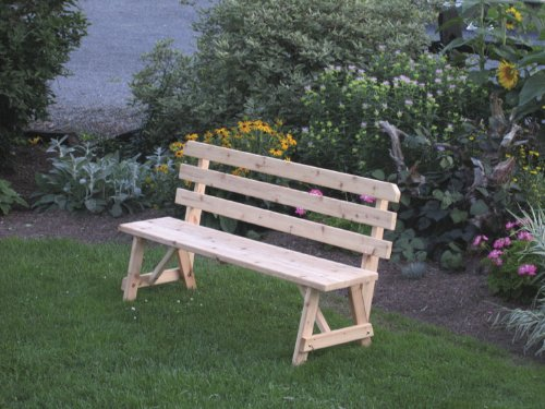A & L Furniture Yellow Pine Traditional Backed Bench, 6', Caribbean Blue - 6' Backed Bench