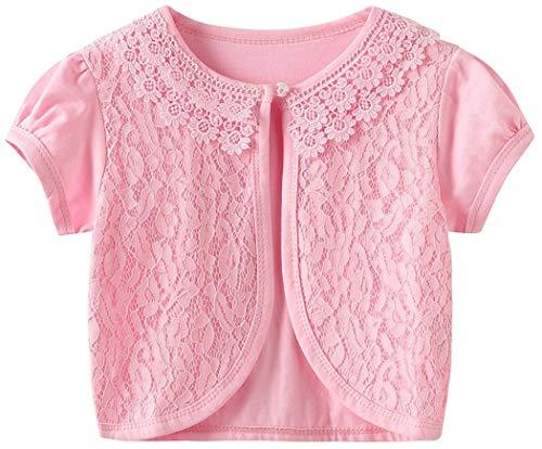 Sinmoocy Girls Lace Shrug Bolero for Dresses Kids Short Sleeve Cardigan for Bridesmaids Flower Girls Pink Size - Girls Dress Bolero