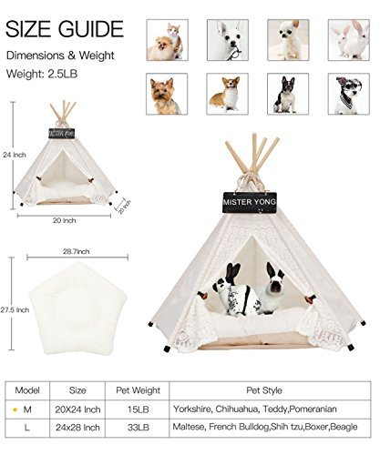 Yongs Pet Cat Dog Rabbit Teepee Cushion,Portable Puppy Small Animals Bed Tent (20 X 24 Inch) by Yongs (Image #5)