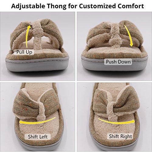 09d483b8619886 Women s Soft   Comfy Knitted Plush Fleece Lining Memory Foam Spa Thong Flip  Flops House Slippers