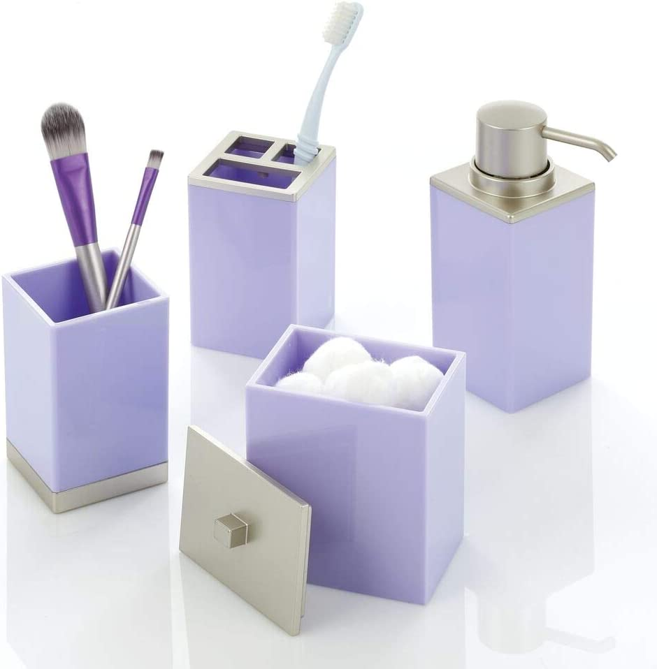 mDesign Plastic Bathroom Vanity Countertop Accessory Set - Includes Soap Dispenser Pump, Divided Toothbrush Holder, Tumbler Rinsing Cup, Storage Canister - 4 Pieces - Light Purple/Satin