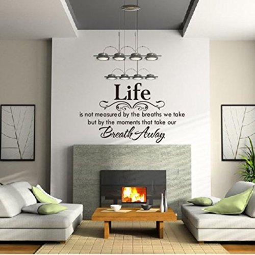 Wall Sticker, Hatop Life Is Not Measured By the Breaths We Take, but By the Moments That Take Our Breath Away Wall Lettering Stickers Quotes and Sayings Home Art (Quotes Wall Decorations)