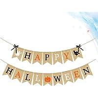 EXCEART Happy Halloween Banner Hangende Gors Decor Garland Halloween Decoraties Voor Bar Tuin Huis 1Pc (Oranje Zwart)