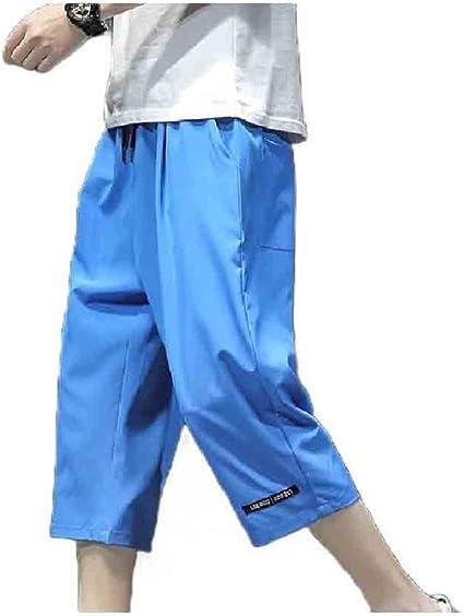 VITryst メンズ 3/4 パンツ カジュアル ルーズ ファッション オーバーサイズ ワイド レッグ パンツ