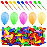 WFPLUS 500 Pcs Assorted Color Latex Dart Balloons Water Balloon with 10 Pcs Plastic Darts for Outdoor Games & Carnival Pop Party