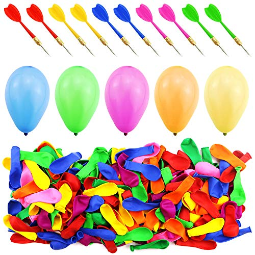 WFPLUS 500 Pcs 6 Inch Assorted Color Latex Dart Balloons Water Balloon with 10 Pcs Plastic Darts for Outdoor Games & Carnival Pop ()