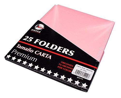 Nassa Paquete con 25 Folders Tamaño Carta, color Rosa Pastel