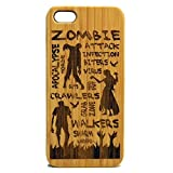 Zombie Attack iPhone 5C Wood Case Cover. Apocolypse Dead Walking Ghouls Monster Engraved on Eco-Friendly Bamboo Skin.