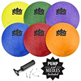 "Crown Sporting Goods Set of 6 Playground Balls with Hand Pump and Needles – Classic 8.5"" Inch Inflatable Balls, Great for Dodgeball, Kickball, Foursquare & Gym Class Use"