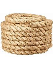 DIY krabtouw, Jute barrière touw voor trap leuning/balkon vangrail/buis/band decor, Industrieel touw voor touwtrekken, schommels, schip en hijsen, gymnastiekgevechten en klimmen, bed-/bankophanging
