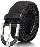 Marino Braided Stretch Belt - Fabric Woven Belt - Casual Weave Elastic Belt for Men and Women - PU Leather Loop and End Tip - Black - S