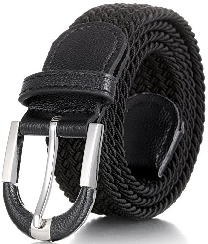 Marino Ave Men's Web Belt, Stretch Rubber/PP, Zinc Alloy Buckle, Black, L