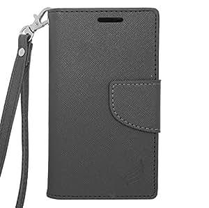 Samsung Galaxy Exhibit (2013) / T599 ToPerk Fashion Two Tone Leather Purse Wallet Case & ToPerk Stylus Pen As Bundle Sale - Black/Black