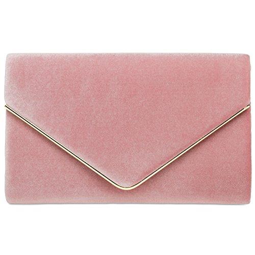 CASPAR TA375 Bolso de mano fiesta para mujer / Clutch elegante con cadena Rosa
