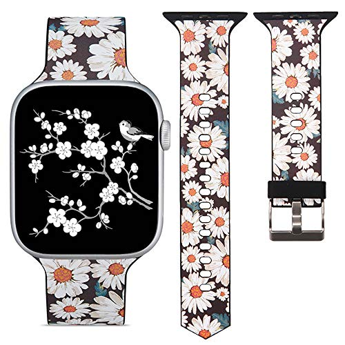 R-Fun Bands Compatible for Apple Watch Band 40mm 38mm, Soft Floral Pattern Printed Sport Wristband for iWatch Series 4, Series 3, Series 2, Series 1 (Flower-02, 38mm/40mm) ()