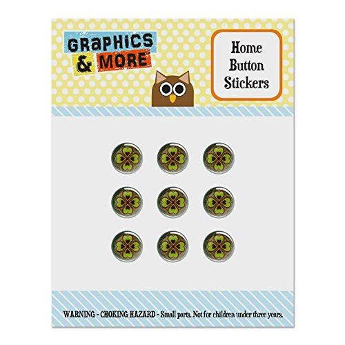 Four Leaf Clover Lucky Set of 9 Puffy Bubble Home Button Stickers Fit Apple iPod Touch, iPad Air Mini, iPhone 5/5c/5s 6/6s 7/7s - Luck Your Sticker Make Own