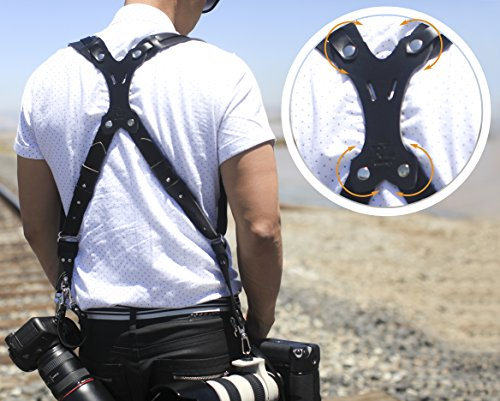 Clydesdale Pro-Dual Handmade Leather Camera Harness, Sling & Strap RL Handcrafts. DLSR, Mirrorless, Point & Shoot Made in The USA (Black, X-Large) by Republic Leather Company (Image #7)