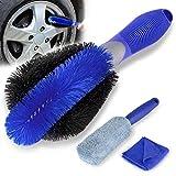 Gifort Car Wheel Cleaning Brush Kit, 1 Car Wheel Brush, 1 Microfiber Long Handle Tire Brush and 1 Microfiber Towel - Perfect Car Tire Cleaning Brush for Cars Motorcycle Bike Wheel Rims Cleaning