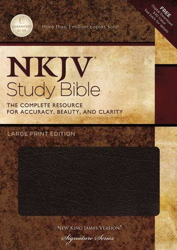 NKJV Study Bible, Large Print, Bonded Leather, Black, Indexed
