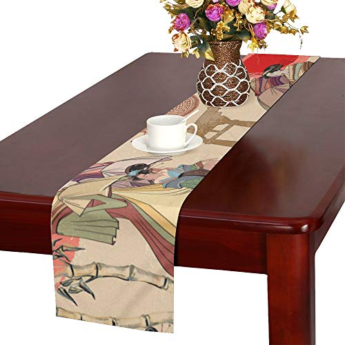 WHIOFE Geisha Autumn Time Asian Culture Oriental Vintage National Design Art Table Runner, Kitchen Dining Table Runner 16 X 72 Inch for Dinner Parties, Events, Decor