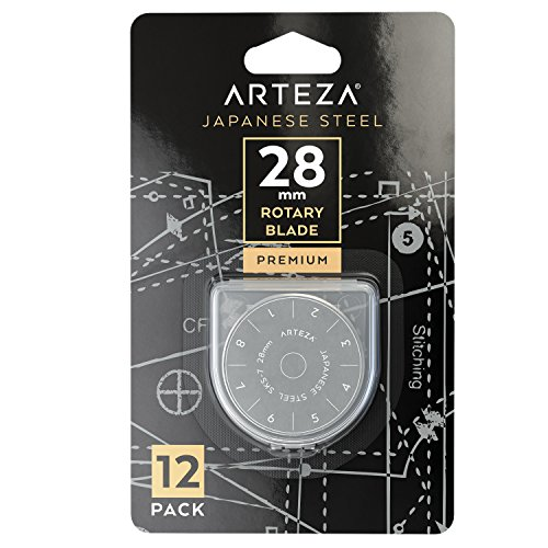 Arteza 28mm Quilting Rotary Cutter Replacement Blades, Fits Olfa & Fiskars (SKS-7, Pack of 12) by ARTEZA