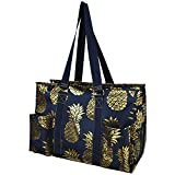 Southern Pineapple Print NGIL Large Zippered Caddy Organizer Tote Bag Gold Collection