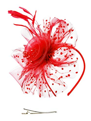 Fascinators Hat for Women Tea Party Headband Kentucky Derby Wedding Cocktail Flower Mesh Feathers Hair Clip (1-Red)]()