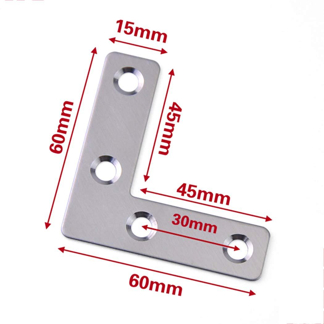 12 juegos de soportes de esquina tirantes de /ángulo en forma de L soportes de /ángulo de acero inoxidable de 90 /° para muebles de madera soporte de esquina para juntas 50 50mm