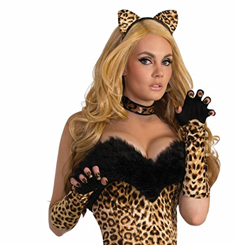 Leopard Print Fingerless Gloves - Forum Novelties Women's Leopard Fingerless Gloves, Black, Standard