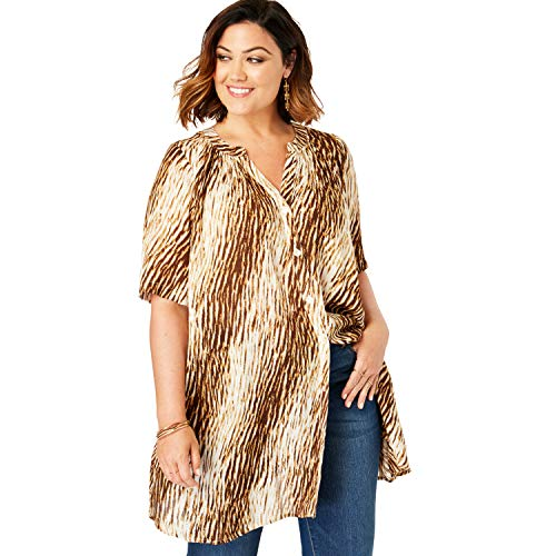 (Roamans Women's Plus Size Angelina Tunic - Natural Textured Animal, 20 W)