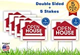 Open House Sign Bundle Kit - 5 Premium Yard Signs Bulk Pack - 18