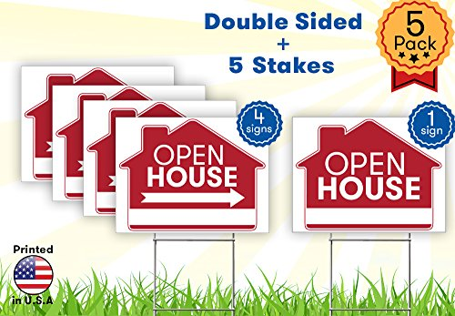 Buy cheap open house sign bundle kit premium yard signs bulk pack inches large directional arrows double