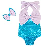Carkoo Baby Girl's Fish Scale Mermaid Romper Bathing Suits With Headband(Smal...