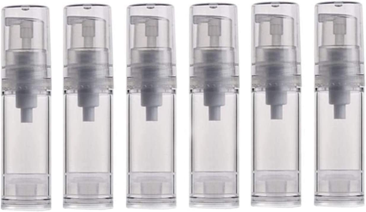 6PCS 5ml/10ml/12ml/15ml Clear Empty Travel Portable Refillable Plastic Airless Vacuum Pump Bottle Vial Press Container for Essence Cleanser Emulsion (5ml/ 0.17oz)