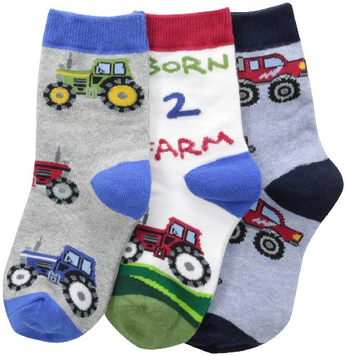 Jefferies Socks Little Boys Born 2 Farm Triple Treat  (Pack of 3)