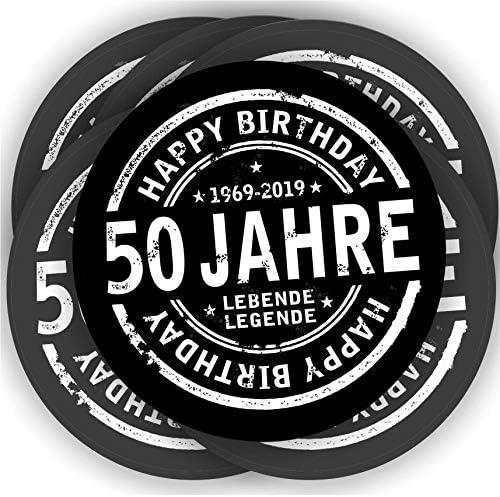Play-Too 20 Aufkleber Sekt-,Wein-,Bierflasche Geburtstag 50 Fest Spruch Schwarz Rund