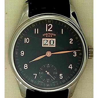 Uhr Agir Watch Herren 3297 mechanisch Stahl Quandrante schwarz Armband Leder
