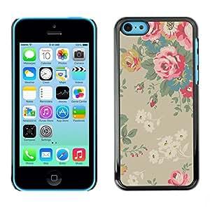 [Neutron-Star] Snap-on Series Teléfono Carcasa Funda Case Caso para iPhone 5C [Bush Papel pintado floral de la vendimia]