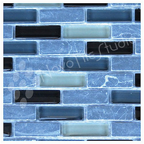 Box 10 Tiles Black Marble & Glass Mosaic Tile 12''x12'' ROMA-MX013 (10) by NovoTileStudio.com