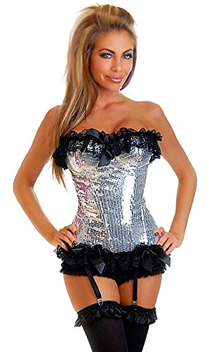 Silver Burlesque Costume (Daisy Corsets Women's Sequin Pin-Up Burlesque Corset, Silver,)