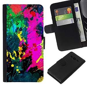 All Phone Most Case / Oferta Especial Cáscara Funda de cuero Monedero Cubierta de proteccion Caso / Wallet Case for Samsung Galaxy A3 // Colorfol Bright Painting Modern Paint Splash